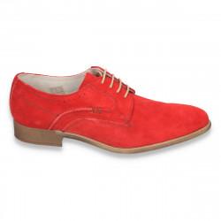 Pantofi barbati casual-eleganti, din piele naturala intoarsa, rosii