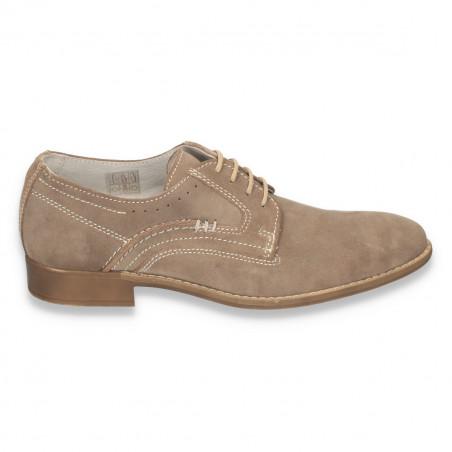 Pantofi barbati casual-eleganti, din piele naturala intoarsa, gri