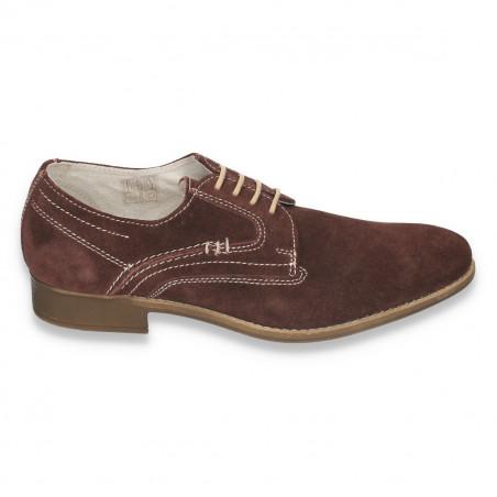 Pantofi barbati casual-eleganti, din piele naturala intoarsa, maro