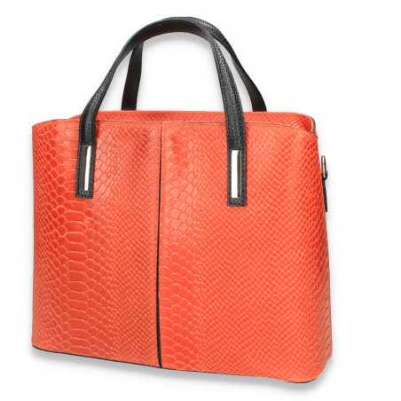 Geanta dama, eleganta, din piele naturala, imprimeu croco, portocalie
