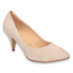 Pantofi dama din piele intoarsa, cu toc mic, culoarea bej