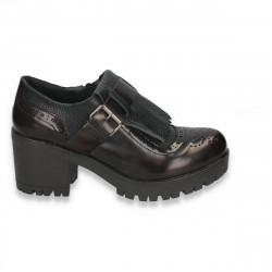 Pantofi retro, cu toc masiv, pentru femei, bordo