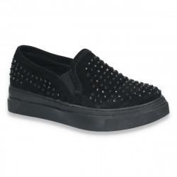 Pantofi casual pentru fetite, cu strasuri negre