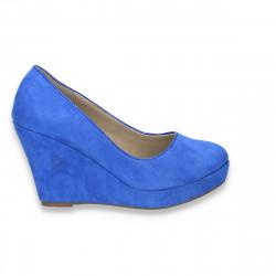 Pantofi femei cu platforma, imitatie velur, albastru regal