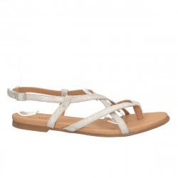 Sandale infradito, din piele naturala, argintiu