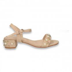 Sandale dama, cu toc mic si perle