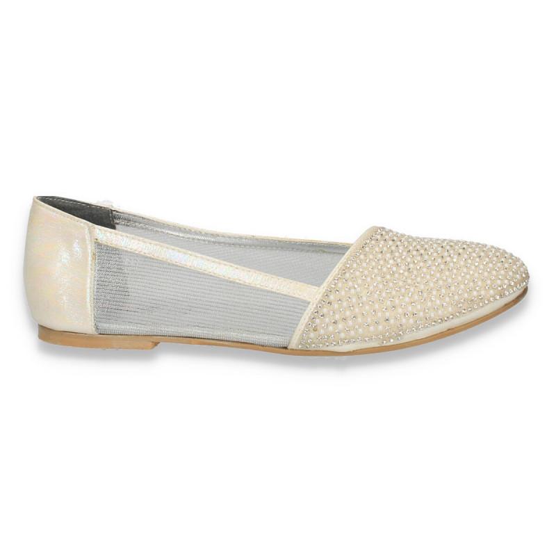 Balerini eleganti, pentru fete, cu perle si strasuri, albi