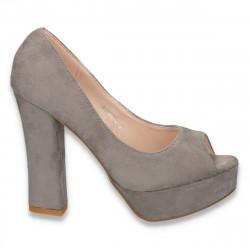Pantofi dama decupati, cu platforma si toc masiv, gri - LS2
