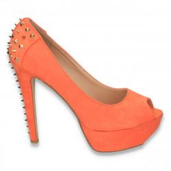 Pantofi dama extravaganti, cu tinte si toc inalt, portocalii - LS4