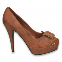 Pantofi eleganti dama, cu decoratiune cu strasuri, maro - LS7