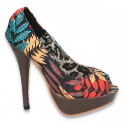 Pantofi dama colorati, cu imprimeu exotic si toc inalt - LS10
