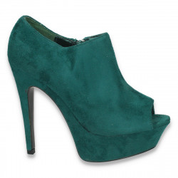 Pantofi dama , cu varf decupat, platforma si toc inalt, verde - LS11