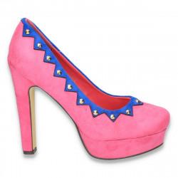 Pantofi imitatie velur, cu toc masiv, fucsia - LS12