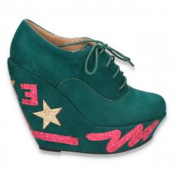 Pantofi fashion dama, cu platforma inalta, verzi - LS13