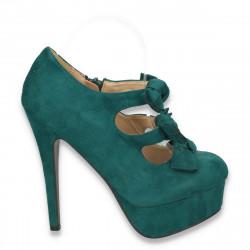 Pantofi femei, cu platforma, toc inalt si barete cu fundite, verde - LS14