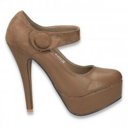 Pantofi cu toc inalt, platforma si bareta, maro  - LS18