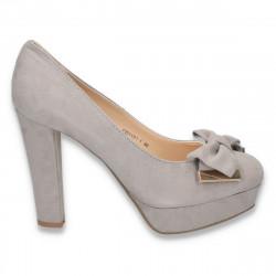 Pantofi gri, imitatie de velur, cu fundita - LS20
