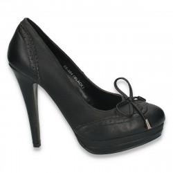Pantofi office, cu toc inalt si elemente in stil Oxford - LS21