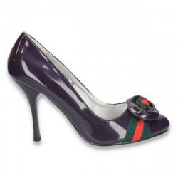 Pantofi eleganti din piele ecologica lacuita, mov, pentru femei  - LS23