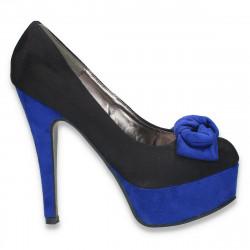 Pantofi inalti, imitatie velur, cu fundita, negru-albastru - LS24