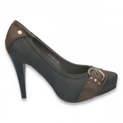 Pantofi cu toc inalt si catarama metalica, maro - LS26