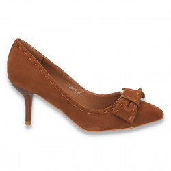 Pantofi dama cu fundita si toc mic, maro - LS27