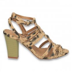 Sandale cu cureluse si imprimeu animal print, cu toc mediu  - LS29