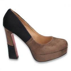 Pantofi cu platforma si toc inalt, masiv, maro cu negru - LS31