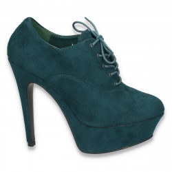 Pantofi femei cu siret, platforma si toc inalt, verzi - LS37
