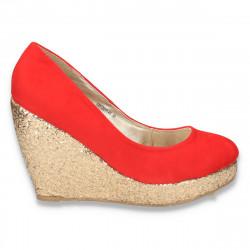 Pantofi glami dama, cu platforma inalta cu sclipici auriu, rosii - LS40