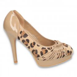 Pantofi dama, din piele eco lacuita si animal print - LS47