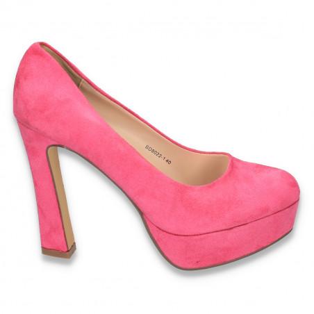 Pantofi imitatie velur, cu platforma si toc masiv, fucsia - LS50