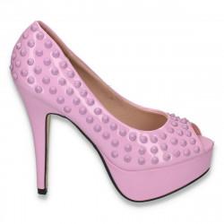 Pantofi inalti, glami, cu tinte si toc inalt, roz  - LS51