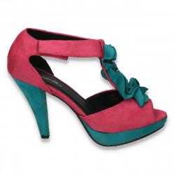 Pantofi colorati, cu toc si bareta cu volanase, pentru femei - LS52
