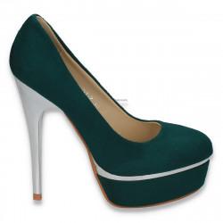 Pantofi glami dama, imitatie de velur, cu toc foarte inalt, verde inchis - LS53