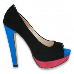 Pantofi imitatie velur, cu platforma si toc masiv, in 3 culori - LS54