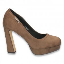 Pantofi imitatie velur, maro inchis, cu toc inalt, masiv - LS56