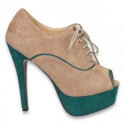Pantofi dama , cu varf decupat, platforma si toc inalt, bej cu verde - LS57