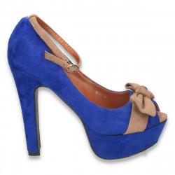 Pantofi inalti, imitatie velur, cu fundita si bareta, albastru-bej - LS58
