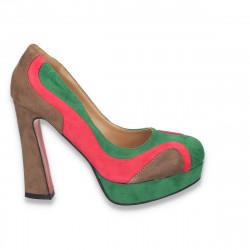 Pantofi in 3 culori, cu toc masiv, pentru femei - LS60