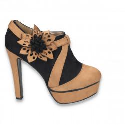 Pantofi dama inalti, tip gheata, cu decoratiune tip floare, negru-bej - LS61