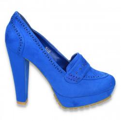 Pantofi femei, albastru regal, cu insertii de elemente stil Oxford - LS66