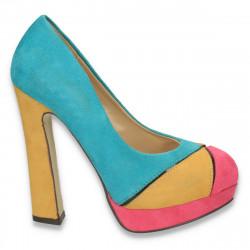 Pantofi dama glami, imitatie velur, multicolor - LS68
