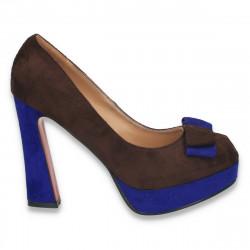 Pantofi inalti, imitatie velur, cu fundita, maro-albastru - LS70