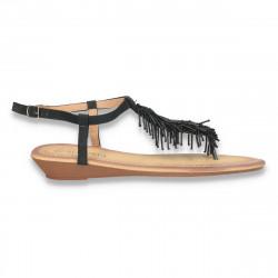 Sandale infradito, negre, cu franjuri din margele - LS71