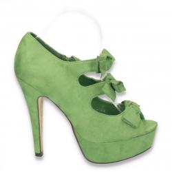 Pantofi femei, cu varf decupat, barete cu fundite, verde deschis - LS72