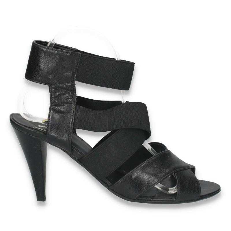 Sandale din piele cu barete elastice in forma de X si toc mediu - LS73