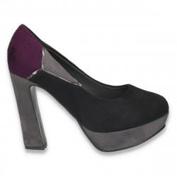 Pantofi negri, imitatie de velur, cu toc foarte inalt, pentru femei - LS74