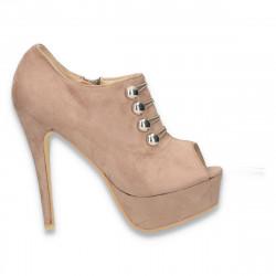 Pantofi femei, cu varf decupat si nasturi metalizati aplicati  - LS84