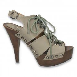 Sandale femei, cu platforma din lemn si toc inalt  - LS85